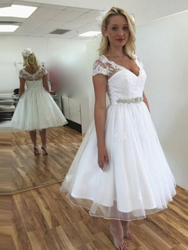 Ericdress V Neck A Line Tea Length Wedding Dress