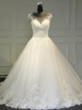 Ericdress Scoop Appliques Ball Gown Illusion Back Wedding Dress