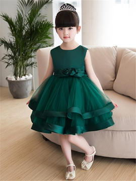Ericdress Scoop Ball Gown Knee Length Flower Girl Party Dress