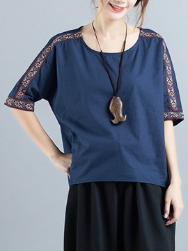 Ericdress Half Sleeve Embroidery Loose Round Neck T-shirt