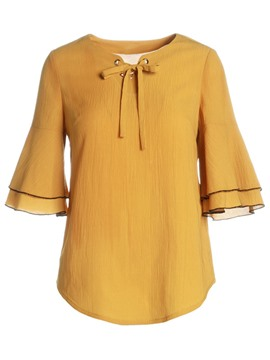 Ericdress Chiffon Bell Sleeve Soild Color Bowknot Blouse