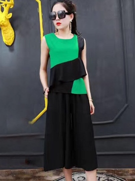 Ericdress Color Block Patchwork Wide Legs Women Suits