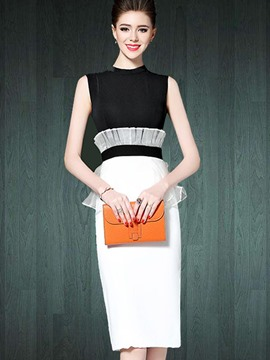 Ericdress Ladylike Color Block Ruffles Patchwork Bodycon Dress