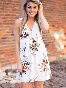 Ericdress Delicate Floral Print V-Neck Above Knee Casual Dress