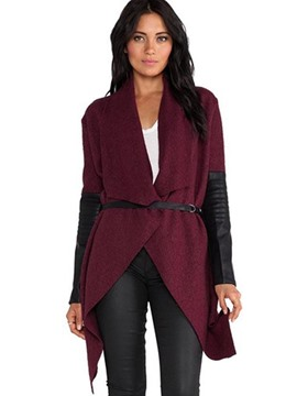 Ericdress Cardigan Asymmetric Leather Sleeve Coat
