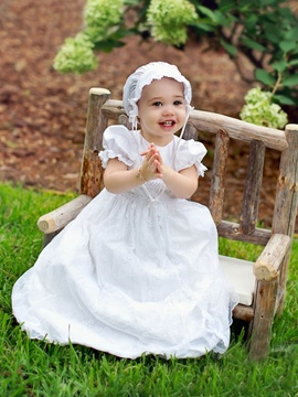 Ericdress Elegant Christening Gown for Baptism Girl with Bonnet