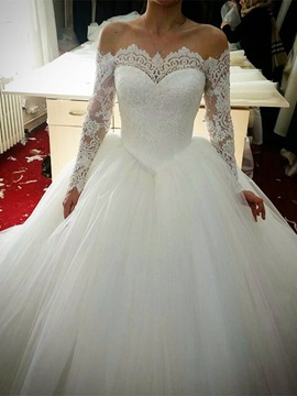 Ericdress Lace Off The Shoulder Ball Gown Long Sleeves Wedding Dress