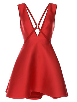 Ericdress V-Neck Solid Color Sleeveless A Line Dress
