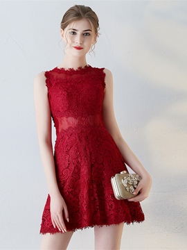 Ericdress Sheath Jewel Neck Lace Short Homecoming Dress