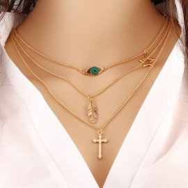Ericdress Women Simple Plain Long Chain Jewelry Necklace Gold necklace