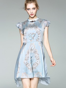 Ericdress Stand Collar Floral Asymmetrical A Line Dress