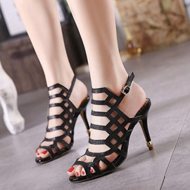 Ericdress Elegant Sequins Cut Out Stiletto Sandals