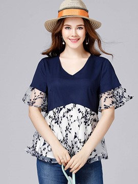 Ericdress Plus-Size Ruffle Sleeve Patchwork Print T-shirt