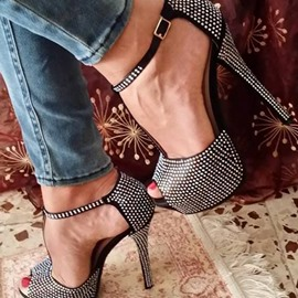 Ericdress Black Peep Toe Platform Heel Sandals
