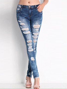 Ericdress Mid-Waist Hole Denim Jeans