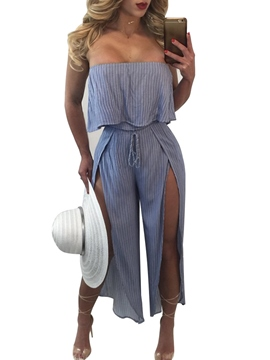 Ericdress Stripe Wide Legs Lace-Up Jumpsuits Pants