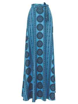 Ericdress Floor-Length Print Lace-Up Usual Skirts