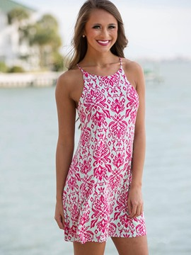 Ericdress Print Spaghetti Strap Beach A Line Dress