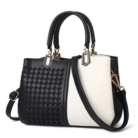 Ericdress Trendy Knitted Patchwork Pattern Handbag