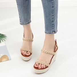 Ericdress Sweet Kintting Patchwork Platform Wedge Sandals