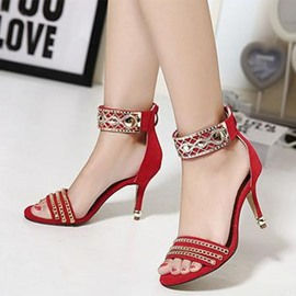 Ericdress Metal Chain Decorated Ankle Strap Stiletto Sandals
