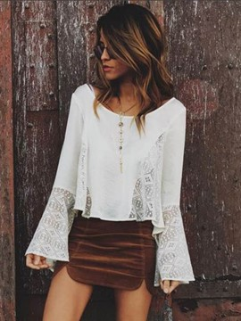 Ericdress Lace Patchwork Flare Sleeve Solid Color T-shirt