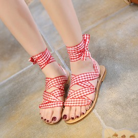 Ericdress Roman Grid Ribbon Flat Sandals