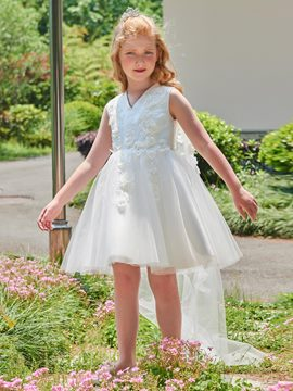 Ericdres V Neck Appliques Ball Gown Short Flower Girl Dress