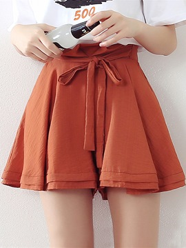 Ericdress Lace-Up Pleated Shorts Pants