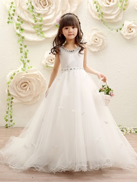 White flower girl dresses cheap dresses for flower girls ericdress scoop ball gown beaded tulle flower girl dress mightylinksfo