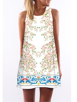 Ericdress Floral Print Above Knee Casual Dress