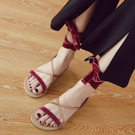 Ericdress Korean Cross Strap Flat Sandals