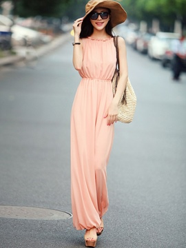 Ericdress Pleated Wide Legs Chiffon Jumpsuits Pants