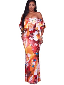 Ericdress Slash Neck Mermaid Floral Floor-Length Maxi Dress