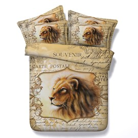 3D Lion and Letters Printed Retro Style 4-Piece Bedding Sets/Duvet Covers