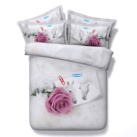 Pink Rose and Horse Printed 4-Piece White 3D Bedding Sets/Duvet Covers