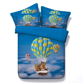 Yorkshire Terrier Flying in Sky with Hot Air Balloon Printed 3D 4-Piece Bedding Sets