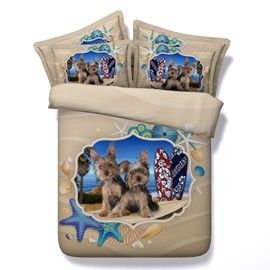 3D Yorkshire Terrier and Beachscape Printed 4-Piece Bedding Sets/Duvet Covers
