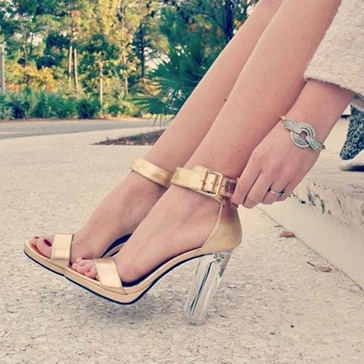 Ericdress Line-Style Buckle Transparent Chunky Heel Sandals