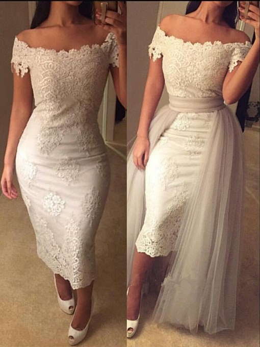 Ericdress Sheath Off The Shoulder Cap Sleeve Lace Evening Dress In Tea Length