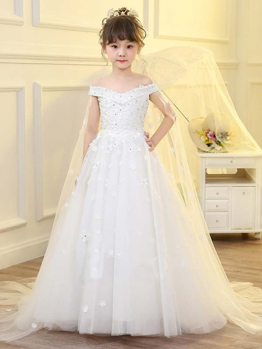 Ericdress Off The Shoulder Beading Appliques Flower Girl Dress