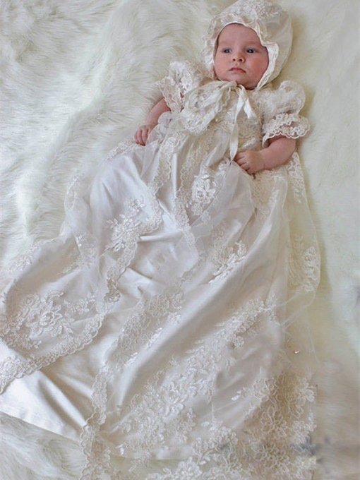 Ericdress 2 Pieces Lace Bonnet Jacket Baby Girl's Christening Gown