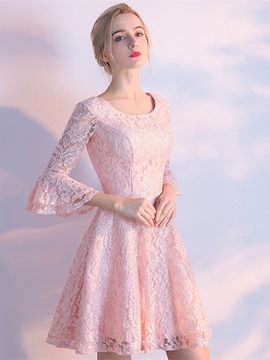 Ericdress Short A Line 3/4 Sleeve Knee Length Lace Homecoming Dress