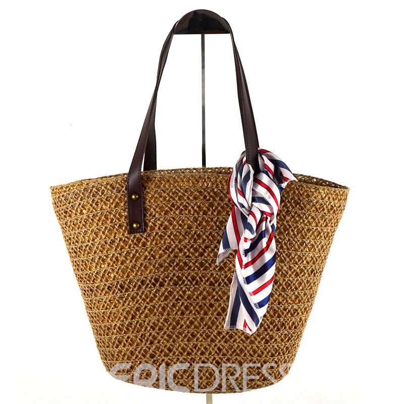 Ericdress Retro Silk Scarves Decoration Tote Bag