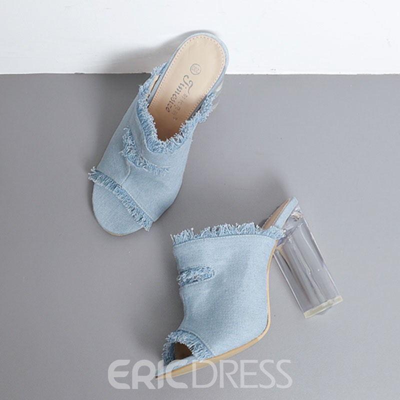 Ericdress Denim Peep Toe Chunky Mules Shoes