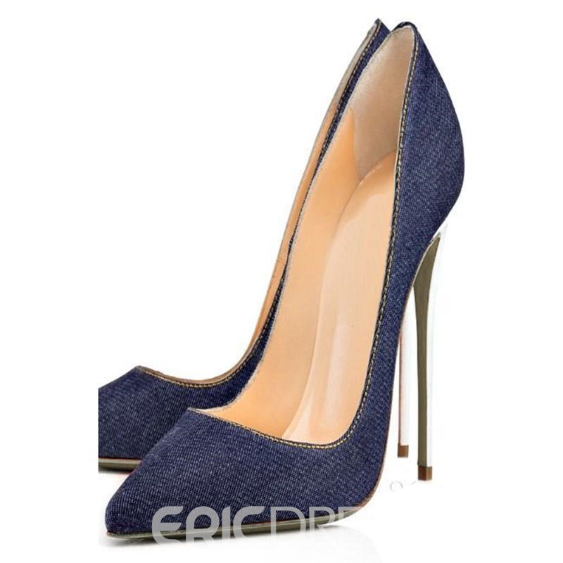 Ericdress Blue Pointed Toe Stiletto Heel Pumps