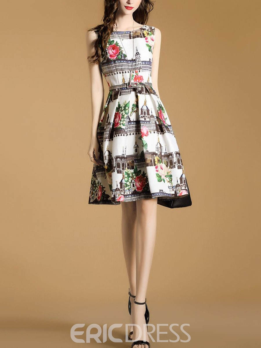 Ericdress Floral Print Sleeveless Mid-Waist A Line Dress