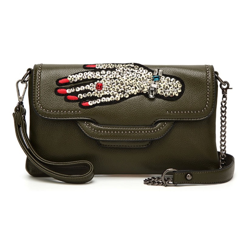 Ericdress Hand Patterned Rhinestone Crossbody Bag