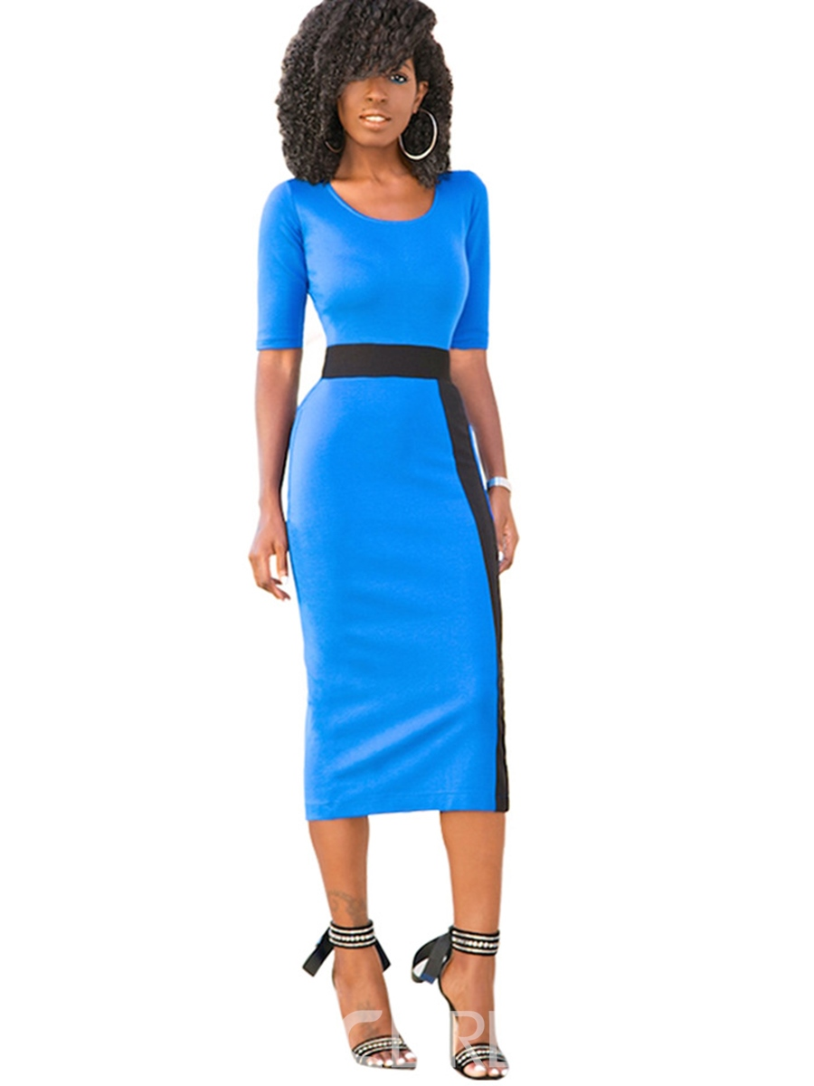 Half Sleeve Waist-Controlled Women's Sheath Dress