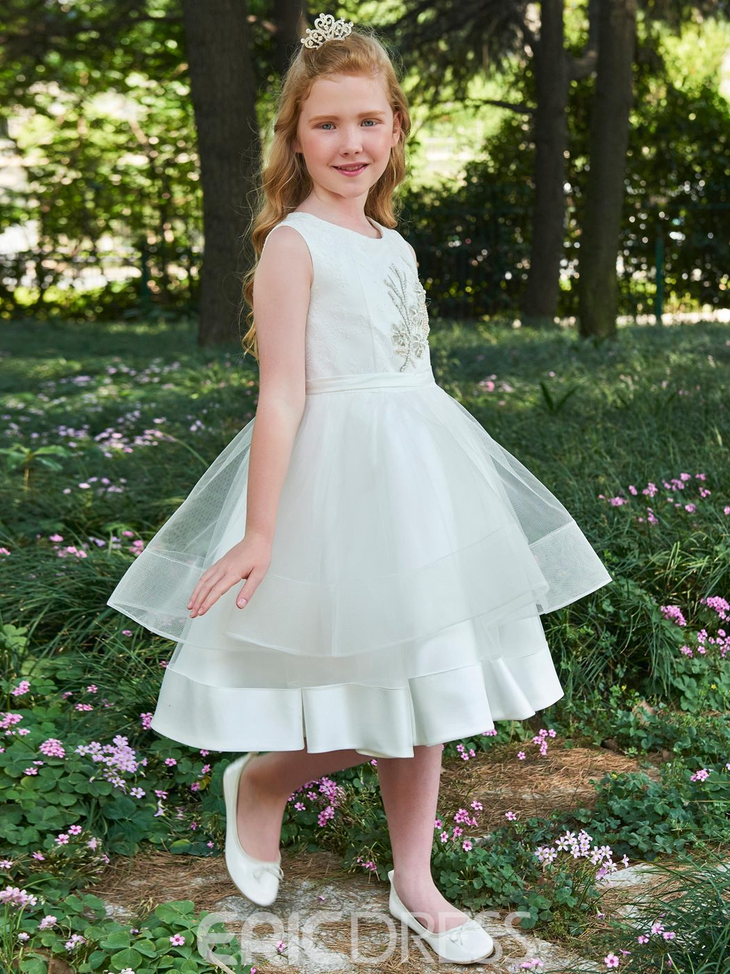 Ericdress Scoop Appliques A Line Knee Length Flower Girl Dress